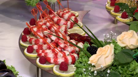 langouste : holiday table with seafood fish crayfish