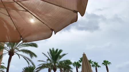 parasol : the sun shines through the umbrella to the sunbed lying on the beach