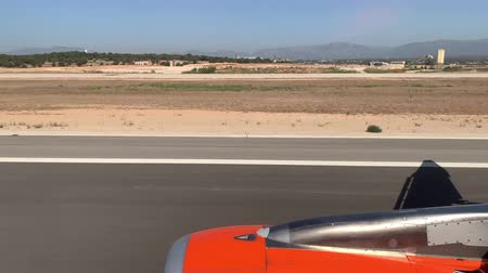 turbo : from the airplane window you can see the turbine and the surface Stock Footage