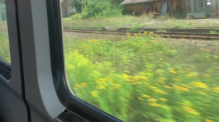 выражать : railway traffic view through the window