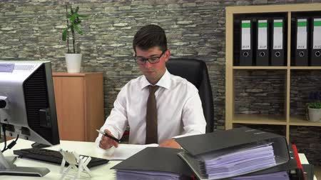 účetní : office worker advises client front view