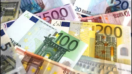 darbe : Euro banknotes from 5 to 50 euro flying away Stok Video