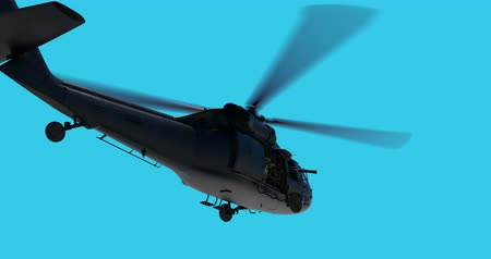 luma matte : UH-60 Black Hawk realistic 3d animation. Realistic reflections, shadows and motion. With luma matte