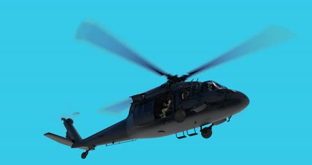 戦闘 : UH-60 Black Hawk realistic 3d animation. Realistic reflections, shadows and motion. With luma matte