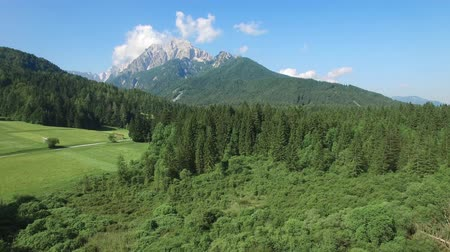 AERIAL VIEW: flight around Kranjska Gora. camera moving up