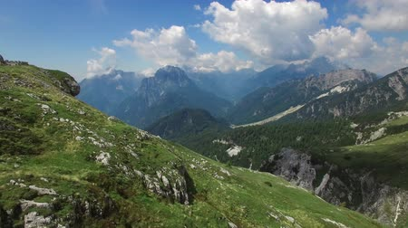 AERIAL VIEW: flight around Mangart Pass.Slovenia. camera moving forwards