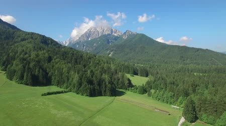 AERIAL VIEW: flight around Kranjska Gora. camera moving forwards Stock mozgókép