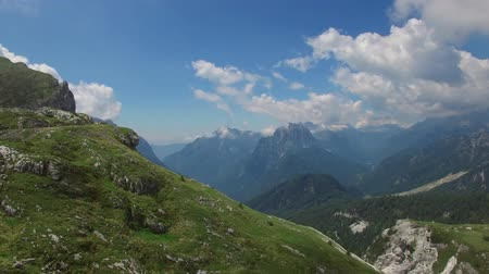 AERIAL VIEW: flight around Mangart Pass.Slovenia. camera moving left to right