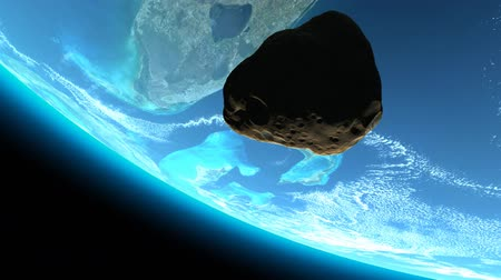 judgment day : Cinematic style shot of a meteor tumbling towards earth .