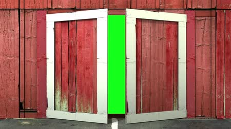zöld : Barn doors that open and close with a green scrackground to insert your photo or video