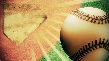 beisebol : Spinning baseball with light rays and a baseball field in background,looping animation,1080