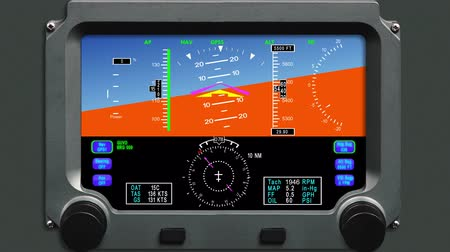 letadlo : Digital horizon avionics gauge with height and airspeed ,animation banking left and right,HD 1080