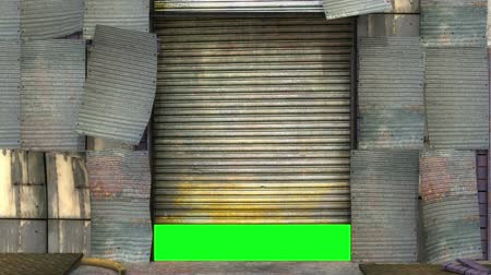 зеленый фон : Grunge garage door opening and closing with green screen to insert your picture or footage. Стоковые видеозаписи