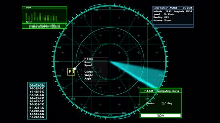 donanma : Sonar tactical readout of an incoming object with heading ,weight and speed information,HD 1080 Stok Video