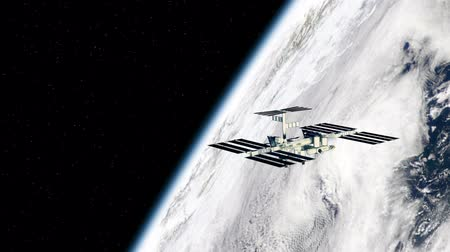 science background : View of the International space station orbiting earth. Textures are from www.NASA.Gov Stock Footage