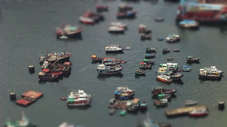deep seaport : Miniature Effect of west kowloon typhoon shelterwest Stock Footage