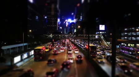 ekonomi : Miniature Effect of  Traffic jam at Wan Chai, Hong Kong night view