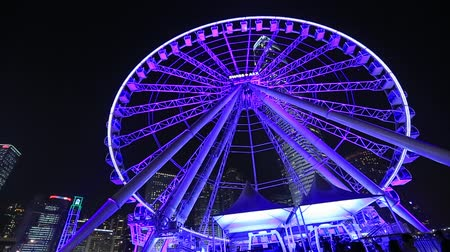 Ferris Wheel in Hong Kong at night.