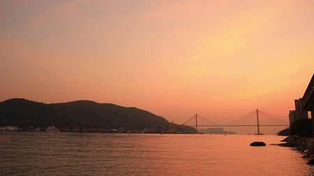 the sun set of the Ting Kau Bridge Stock Footage