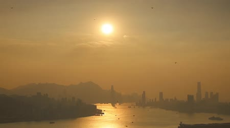 hong kong skyline at sunset