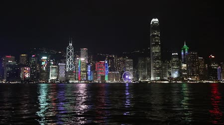Hong Kong cityscape at night Stock Footage