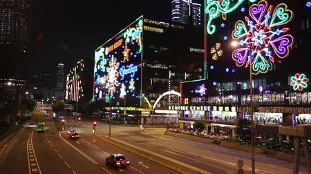 street in Hong Kong at night before xmas Stock Footage
