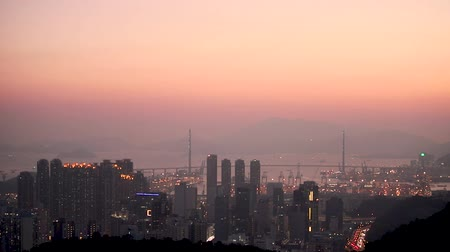 Hong Kong cityscape at sunset, Hong kong city. Stock Footage