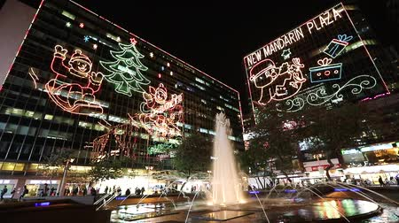 the tsim Sha Tsui, christmas lighting hk Stock Footage