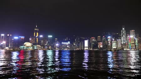 a Hong Kong night city of skyline Stock Footage