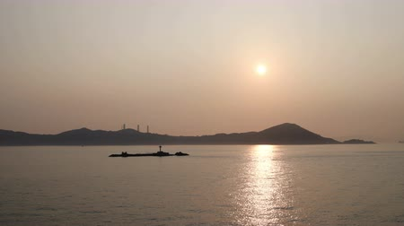 view of a Lamma Island sunset at winter Stock Footage