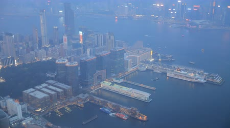 view of hongkong harbour Stock Footage