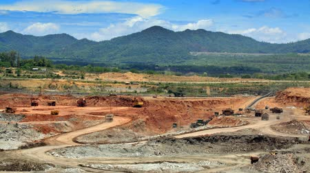 time machine : open pit lignite mine in the Maemoh,Lampang,Thailand  Stock Footage