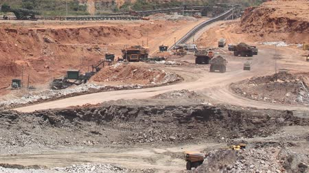iron metal : open pit lignite mine  Stock Footage