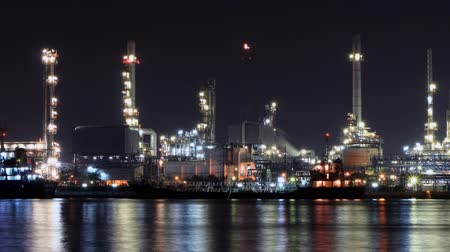 time lapse zoom out oil refinery industry