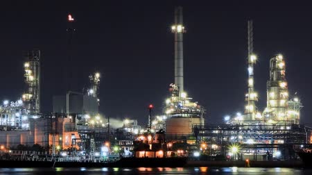 time lapse oil refinery industry  night