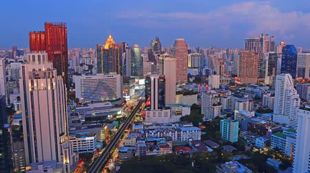 Business District day to night scene time lapse bangkok Thailand