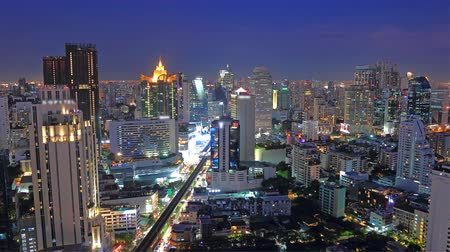 Business District night scene time lapse bangkok Thailand