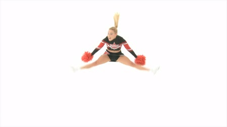 teen action : Cheerleader jump up high Slow Motion