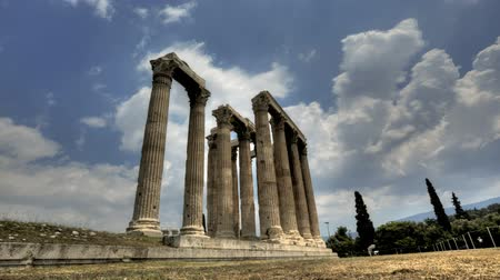 templom : Temple of Olympian Zeus in Timelapse Stock mozgókép