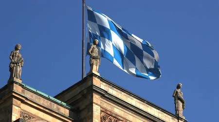 bavaria flag : Bavarian Parliament in front of blue sky Stock Footage