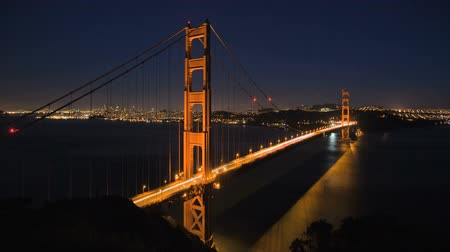 panorâmico : San Francisco Golden Gate Bridge sunset timelapse  Stock Footage