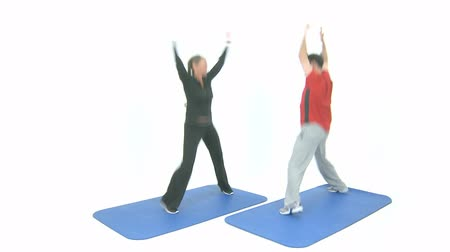 motivasyon : Sport exercise for two jumping jack Stok Video
