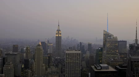 exterior : Timelapse pan-shot View of New York City Downtown Sunset to Night