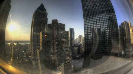 imparatorluk : HDR Timelapse Fisheye View through Skyscraper Window Stok Video
