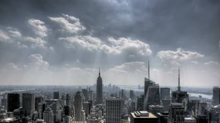lapse : HDR Timelapse of New York City Downtown Skyline in Aerial View with great clouds passing by