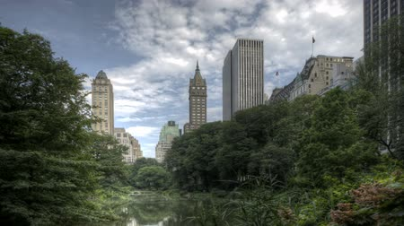 américa central : HDR Timelapse Central Park Trees and New York City Skyline in Background