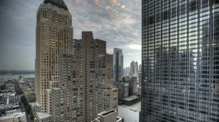 kerület : HDR Timelapse Urban Canyon New York City Stock mozgókép