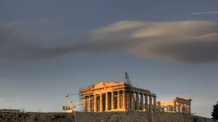 греческий : HDR Timelapse Sunset Parthenon temple at the Acropolis of Athens in Greece (temple of Goddess Athena)