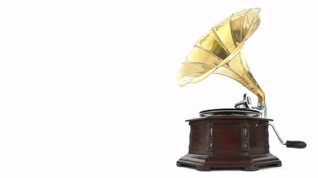 grammophone : Vintage Gramophone playing a record with white background