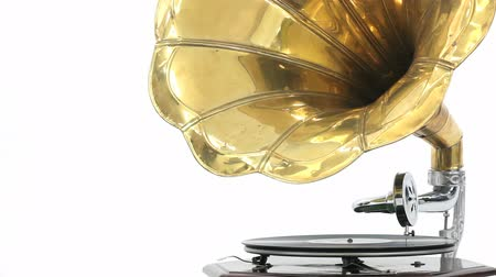 grammophone : Close-up of a vintage Gramophone playing a record with white background Stock Footage